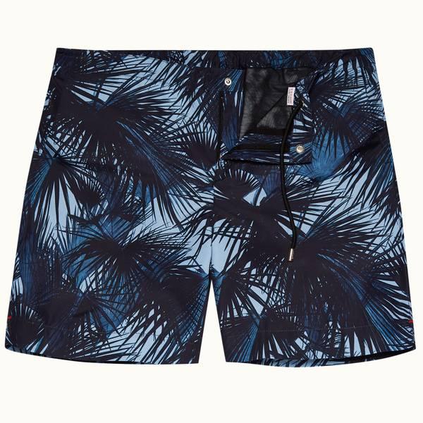 Standard 系列月光棕榈印花中长款游泳短裤 - 浅玛雅蓝色
