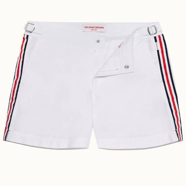 Setter 系列短款条带设计游泳短裤 - 白色