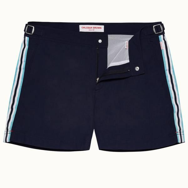 Setter 系列短款条带设计游泳短裤 - 海军蓝色