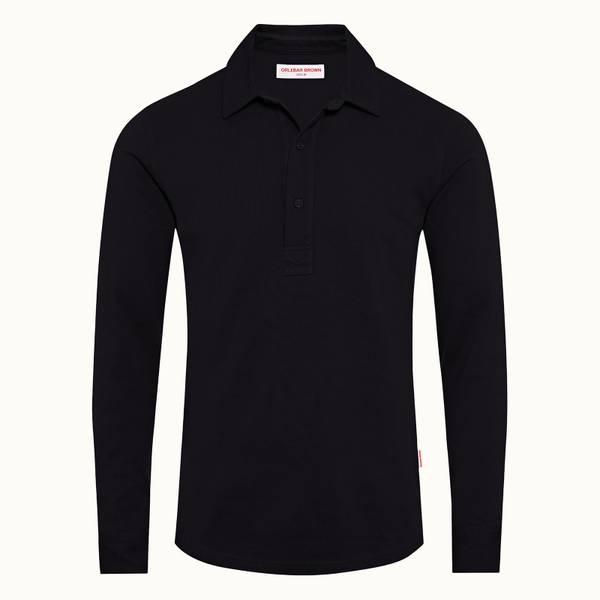 Sebastian 系列定制款长袖 Polo 衫 - 海军蓝色