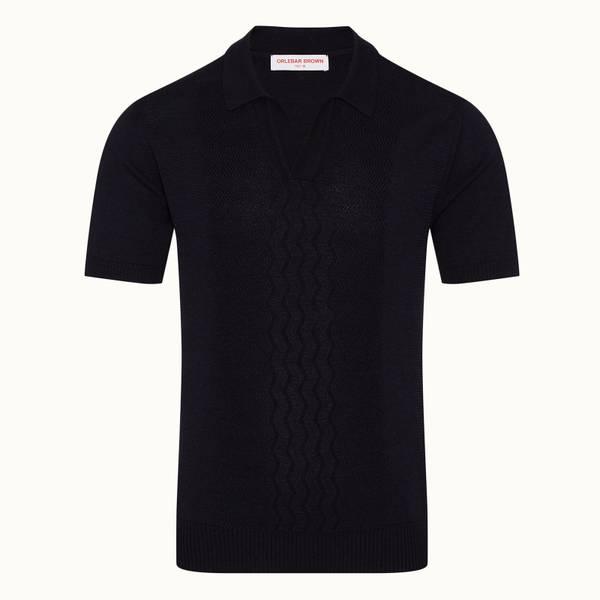 Parry Silk 美利奴丝绸混纺传统针织 Polo 衫 - 午夜鸢尾黑色