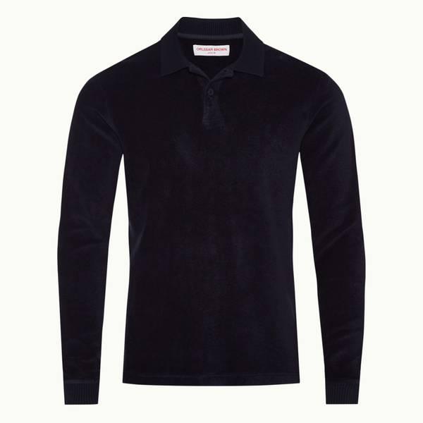 Jarrett Towelling 系列经典款毛巾布长袖 Polo 衫 - 午夜鸢尾黑色