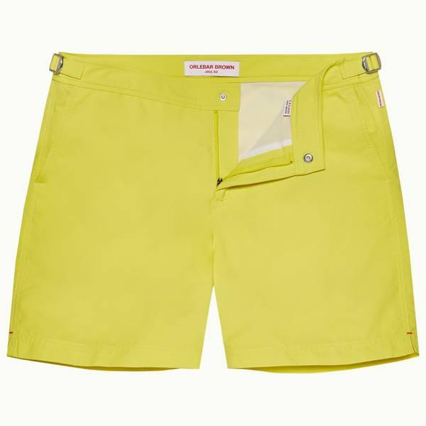 Bulldog 系列中长款游泳短裤 - 明黄色