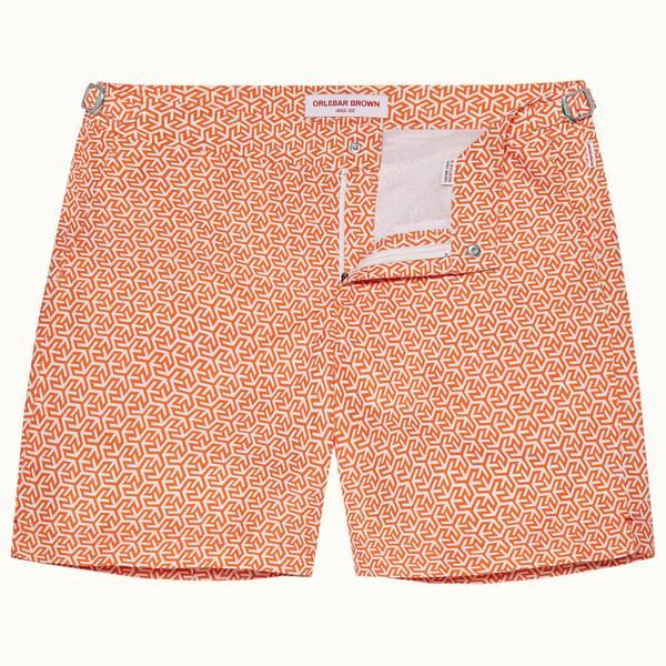 Bulldog 系列奥兰多印花中长款游泳短裤 - 亮橙色/白色