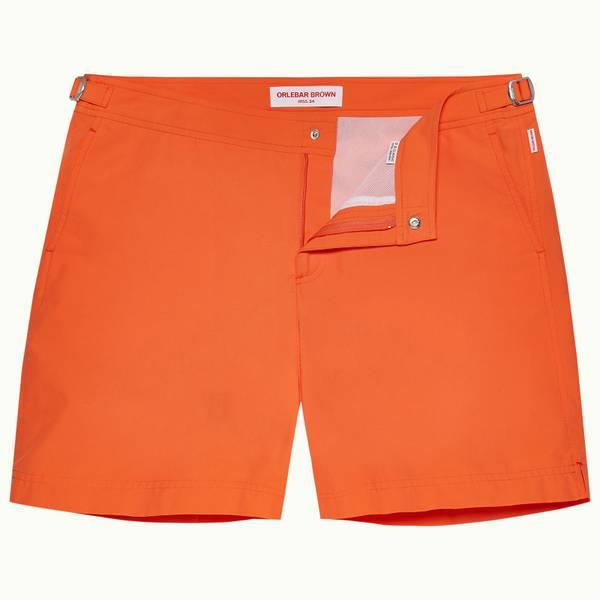 Bulldog 系列中长款游泳短裤 - 亮橙色