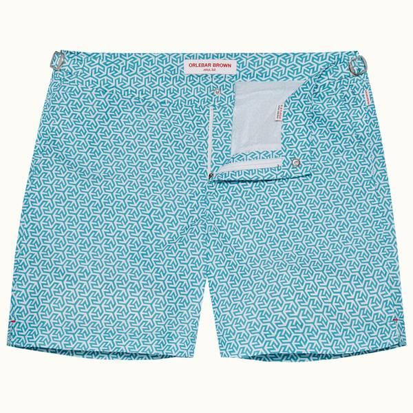 Bulldog 系列奥兰多印花中长款游泳短裤 - 玛雅蓝色/白色