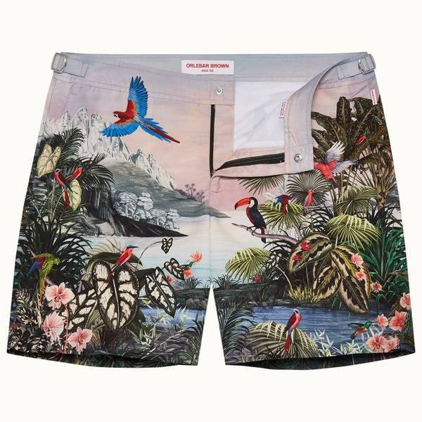Bulldog 系列丛林奇境印花中长款游泳短裤