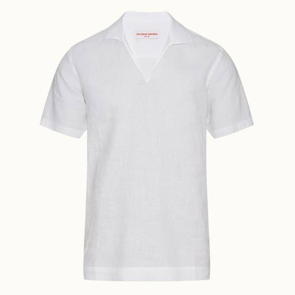 Thorea Linen 宽松款卡普里领衬衫 - 白色