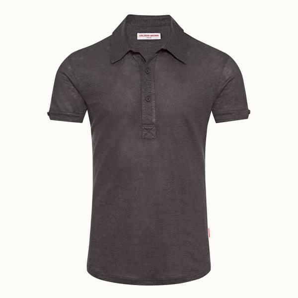 Sebastian Linen 系列定制款亚麻 Polo 衫 - 深灰色