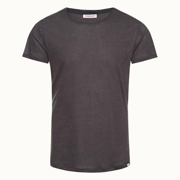 Ob-T Linen 系列定制款圆领亚麻 T 恤 - 深灰色