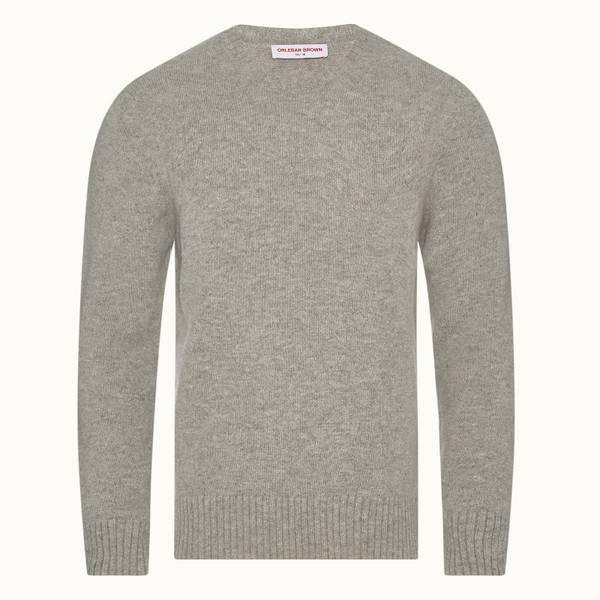 Lorca Alpaca 系列圆领羊驼毛针织套头衫 - 浅灰色