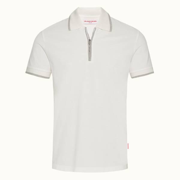 Jarrett 系列经典款对比色饰边拉链门襟 Polo 衫 - 纯白色