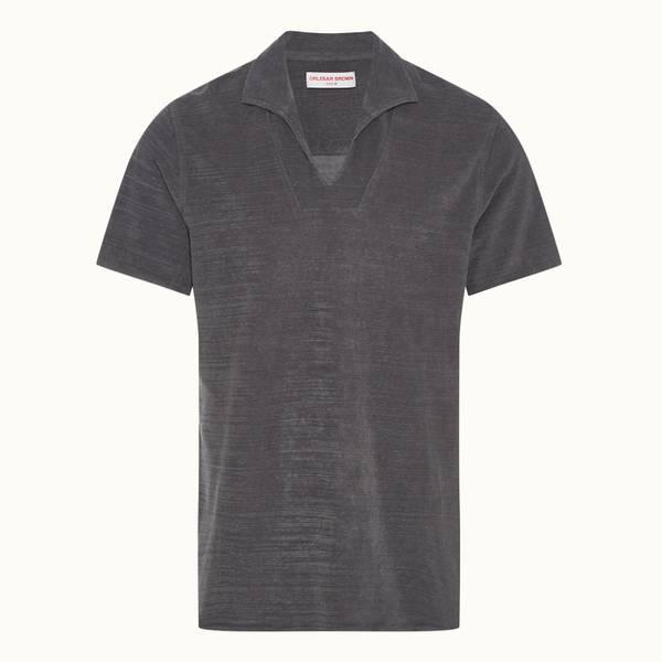 Hugh Towelling 系列宽松款度假风衣领毛巾布 Polo 衫 -  风暴灰色