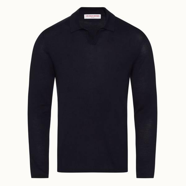 Holman 系列度假风衣领长袖 Polo 衫 - 海军蓝色