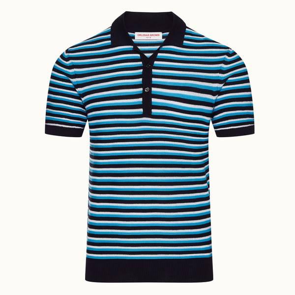 Elzack Willem Stripe 系列条纹定制款 Polo 衫 - 海军蓝色
