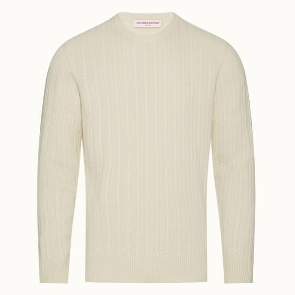 Walden 系列麻花针织美利奴套头衫 - 纯白色