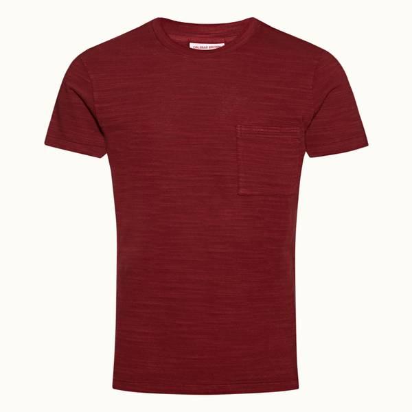 Sammy 系列经典款成衣染色 T 恤 - 火山红色
