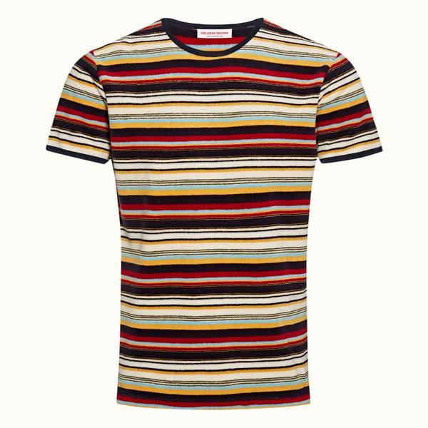 Sammy Stripe 系列条纹毛巾布 T 恤 - 火山红色/沙丘黄色