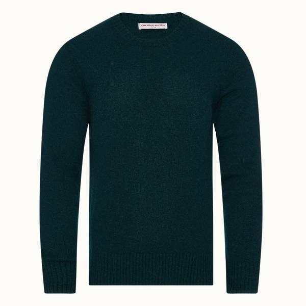Lorca Alpaca 系列圆领羊驼毛针织套头衫 - 亚马逊丛林绿色
