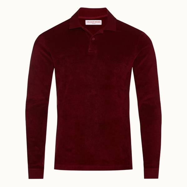 Jarrett Towelling 系列经典款毛巾布长袖 Polo 衫 - 火山红色