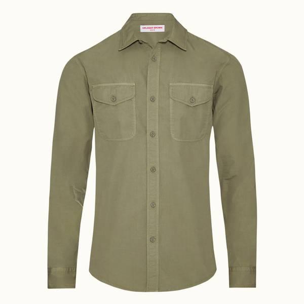 Fairburn 系列经典领成衣染色衬衫 - 洋蓟绿色