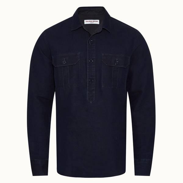 Caspian Denim 系列水洗牛仔布套头衬衫 - 海军蓝色