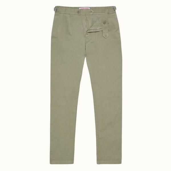 Caldwell Linen 系列成衣染色亚麻长裤 - 洋蓟绿色