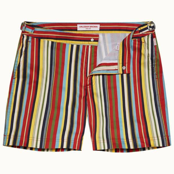 Bulldog 系列条纹中长款游泳短裤 - 火山红色/沙丘黄色