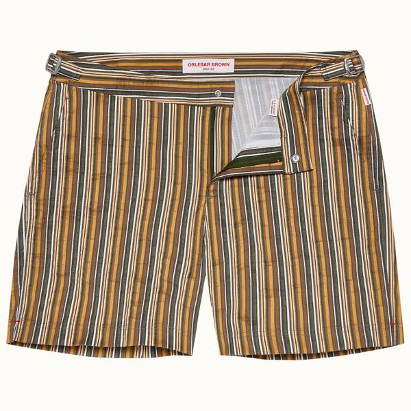 Bulldog 系列条纹中长款游泳短裤 - 亚马逊丛林绿色/亮金色