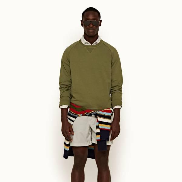Bingham 系列经典款成衣染色运动衫 - 野地绿色