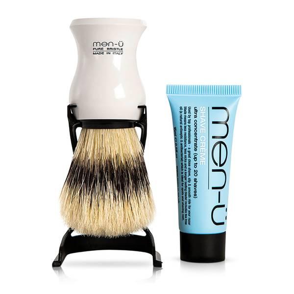 men-u Barbiere 剃须刷与支架 — 白色
