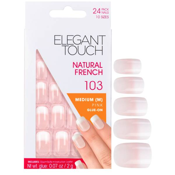 Elegant Touch 自然效果法式美甲贴片 | 103 款中号粉色(指尖渐变白)