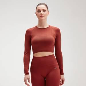 MP Women's Shape Seamless Ultra Long Sleeve Crop Top - Burnt Red