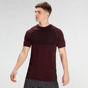 MP Men's Essential Seamless Short Sleeve T-Shirt- Washed Oxblood Marl
