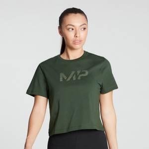 MP Women's Gradient Line Graphic Crop T-shirt- Dark Green