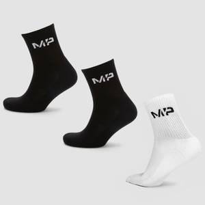 MP Women's Crew Socks - Black/White (3 Pack)