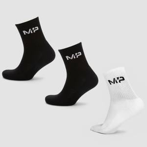 MP Men's Essentials Crew Socks - Black/White (3 Pack)