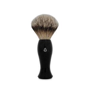 e-Shave银边獾毛长柄剃须刷 - 黑色