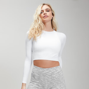 健身短款女士长袖上衣 - 白色