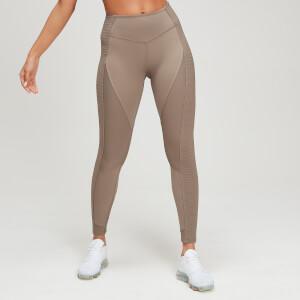 Textured 女士紧身健身运动裤 - 米棕色