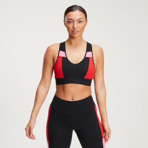 MP Women's Power Colour Block Bra - Black/Danger