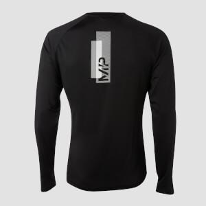 男士印花训练长袖T恤 - 黑