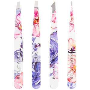 brushworks HD 4 Piece Combination Tweezer Set - Floral