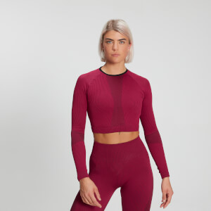 MP Women's Raw Training Ribbed Seamless Long Sleeve Top - Plum