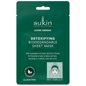 Sukin Super Greens Detoxifying Sheet Mask Sachet 200ml (Pack of 8)