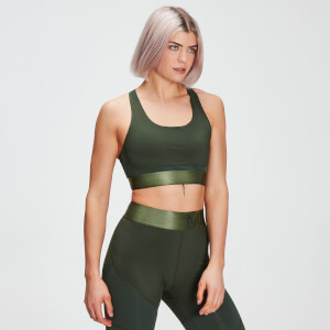 MP Women's Adapt Textured Sports Bra- Dark Green
