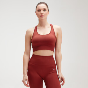 MP Women's Shape Seamless Ultra Cross Strap Sports Bra - Burnt Red