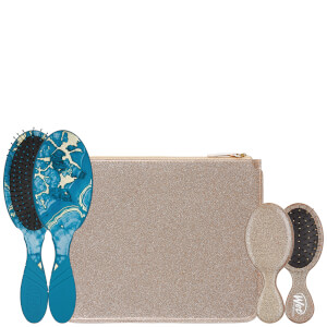 WetBrush Glitter And Go Detangling Set With Pouch - Blue