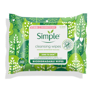 Simple Kind to Skin Biodegradable Cleansing Facial Wipes 20pc
